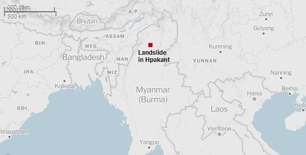 Vị trí xảy ra vụ sạt lở ở Myanmar sáng nay. Đồ họa: NY Times.