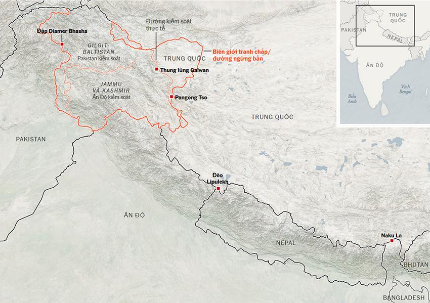 Khu vực biên giới tranh chấp giữa Ấn Độ và Pakistan cùng Trung Quốc. Đồ họa: NY Times.