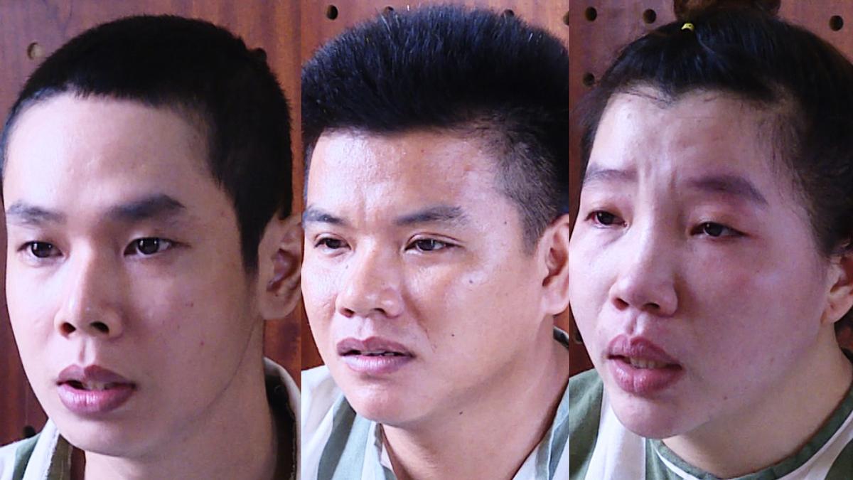 Hải (trái) và vợ chồng Khoa tại Công an tỉnh Bà Rịa - Vũng Tàu. Ảnh: Quang Bình.
