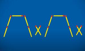 Di chuyển 4 que diêm để các dấu X nằm trong cốc?