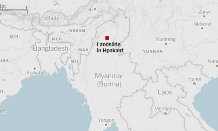 Vị trí xảy ra vụ sạt lở ở Myanmar hôm 2/7. Đồ họa: NY Times.