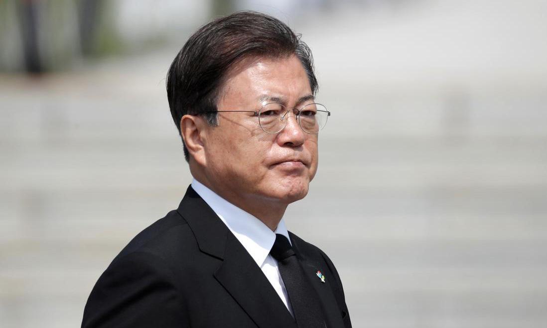 Tổng thống Moon Jae-in tại một lễ kỷ niệm ở thành phố Daejeon, Hàn Quốc, hôm 6/6. Ảnh: Reuters.