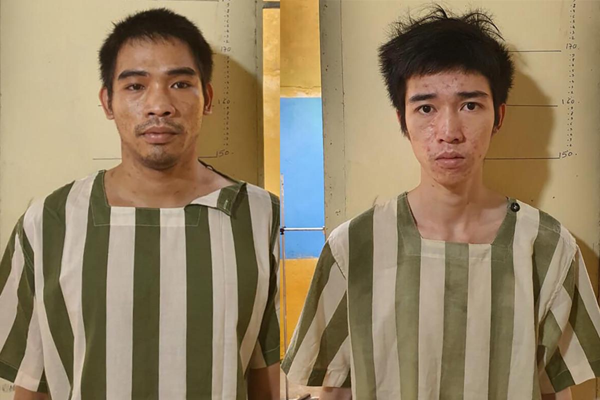 Dũng (trái) và đồng bọn tại cơ quan điều tra. Ảnh: Công an cung cấp.