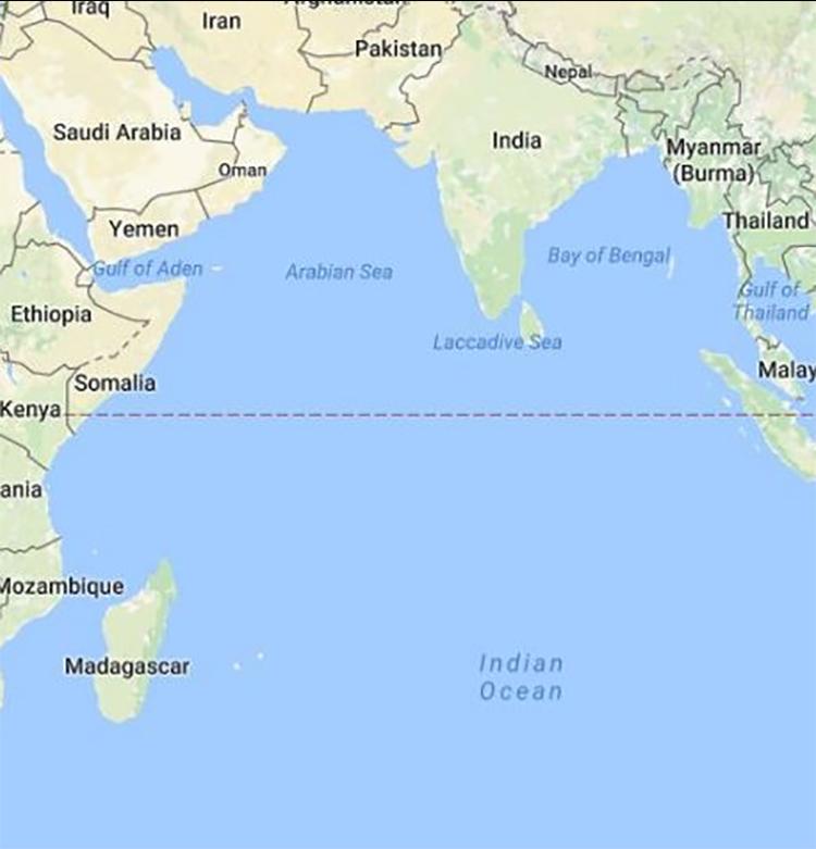 Vị trí của Ấn Độ trong khu vực Ấn Độ Dương. Đồ họa: Google.
