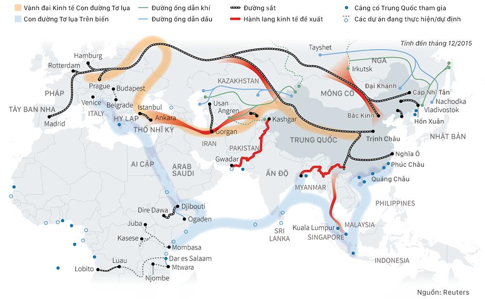 Con đường Tơ lụa theo sáng kiến Vành đai, Con đường của Trung Quốc. Đồ họa: Việt Chung.