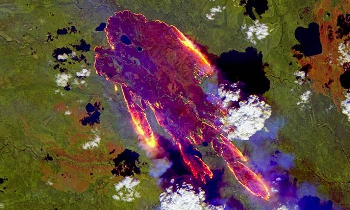 Cháy rừng ở Siberia nhìn từ vũ trụ. Ảnh: ESA.
