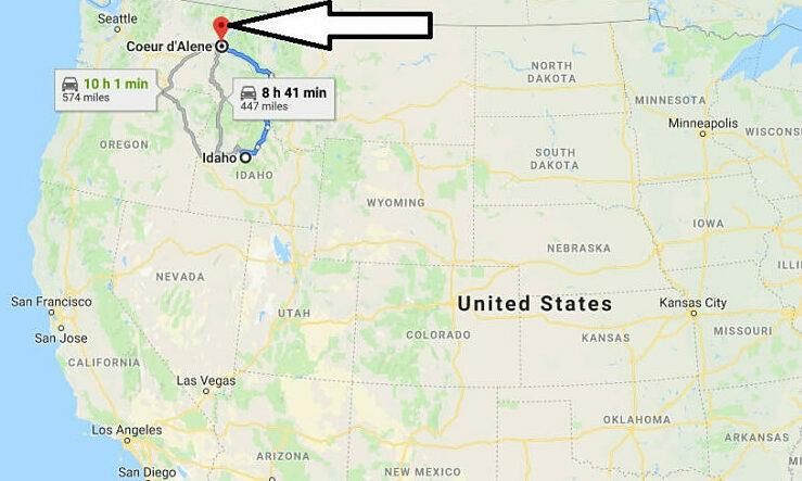 Vị trí Coeur dAlene, bang Idaho, trên bản đồ. Đồ họa: Google Map.