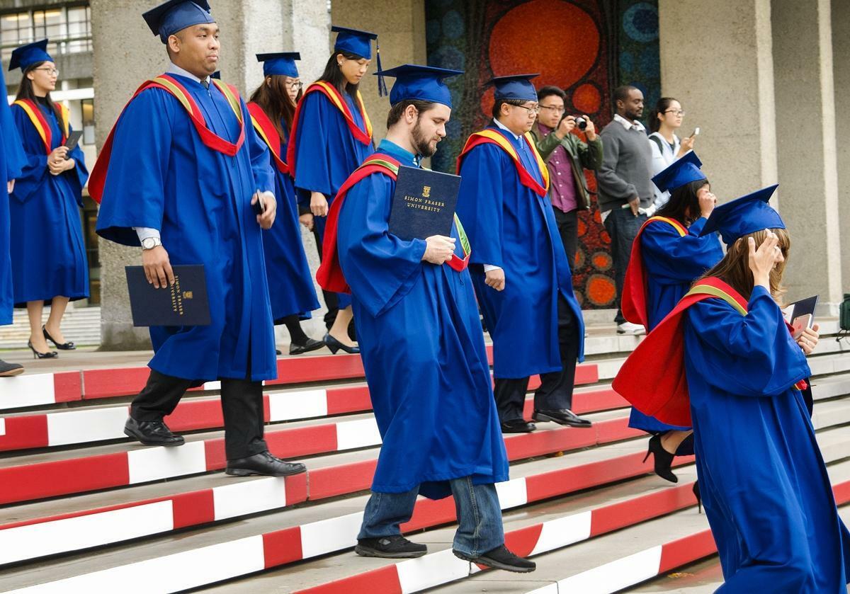 Sinh viên Đại học Simon Fraser, Canada, tham dự lễ tốt nghiệp. Ảnh: Shutterstock.