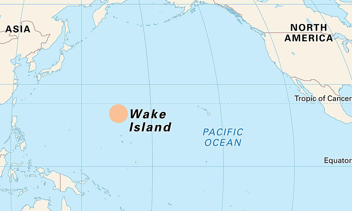 Vị trí đảo Wake trên Thái Bình Dương (vùng màu cam). Đồ họa: Britannica.