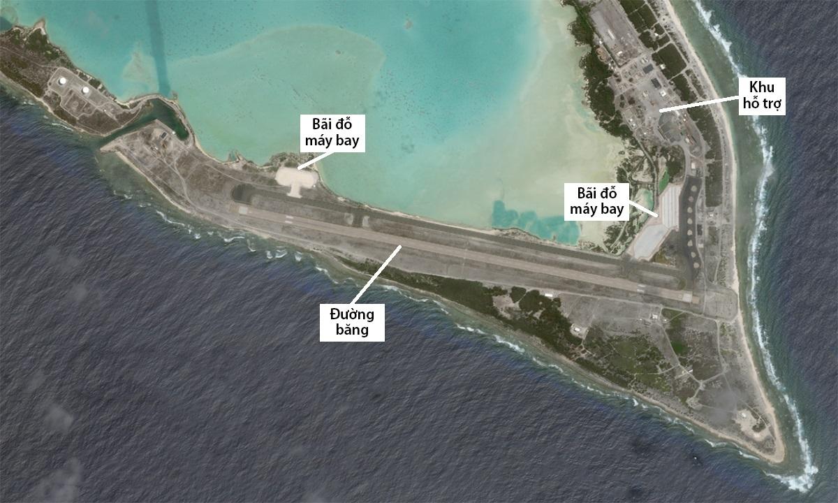 Vị trí các công trình được cải tạo, nâng cấp hoặc xây mới trên đảo Wake, ngày 25/6. Ảnh: Planet Labs.