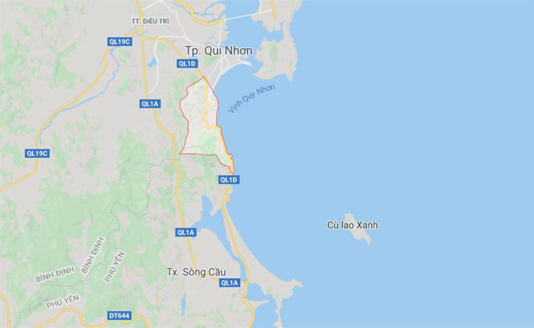Các du khách gặp nạn ở khu vực bãi biển Ghềnh Ráng. Ảnh: Google Maps.