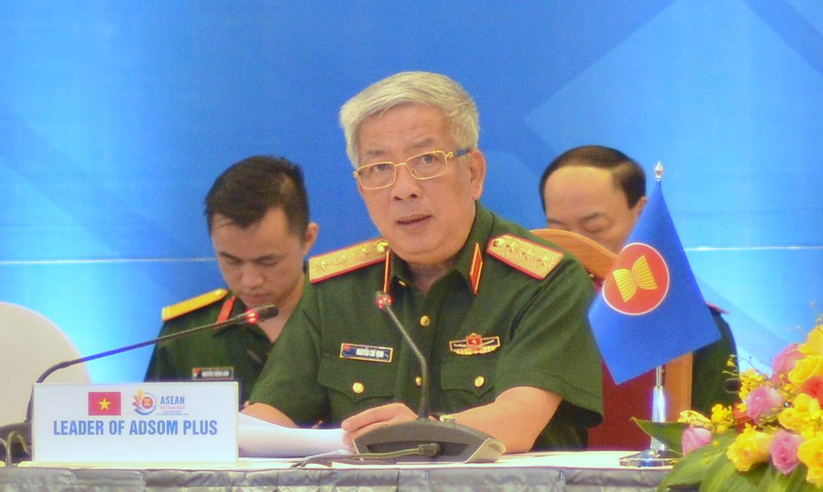 Thứ trưởng Nguyễn Chí Vịnh phát biểu tại Hội nghị trực tuyến ADSOM+ ngày 7/7. Ảnh: Vũ Anh.