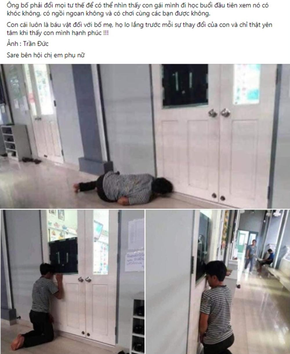 Ông bố rình con gái trong ngày đầu đến lớp