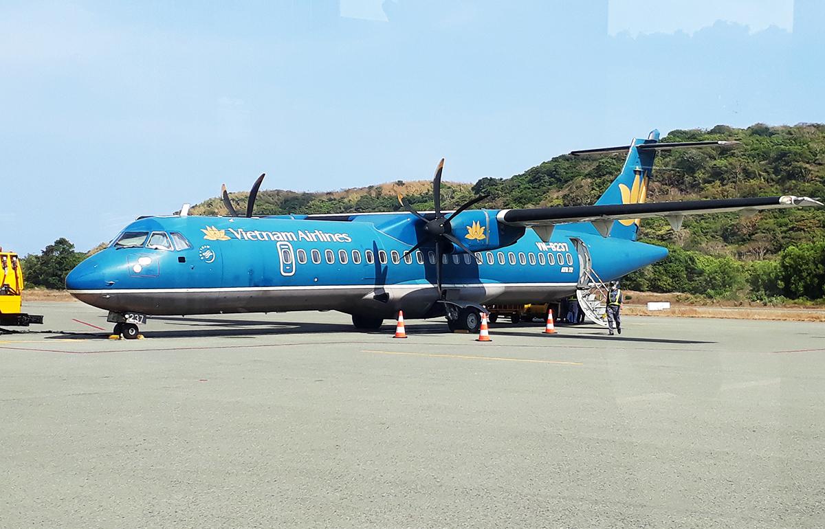 Máy bay trên sân đỗ ở Cảng hàng không Côn Đảo hồi tháng 2. Ảnh: Tiểu Long.