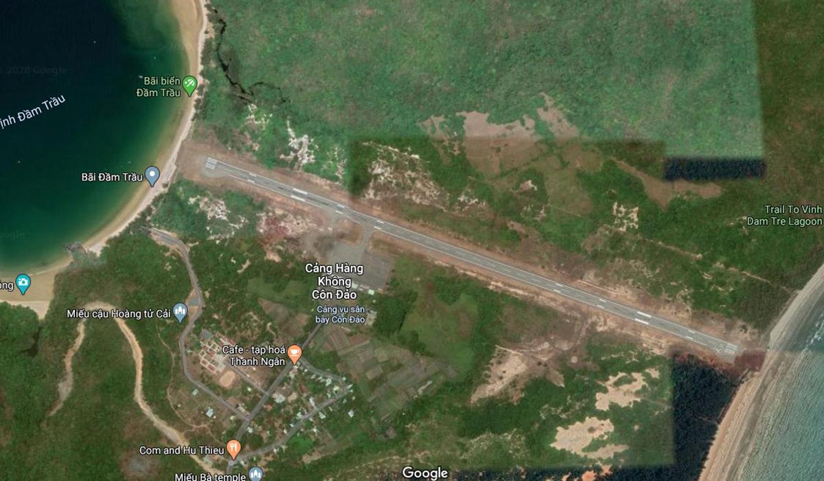 Vị trí Cảng hàng không Côn Đảo trên Google Maps.