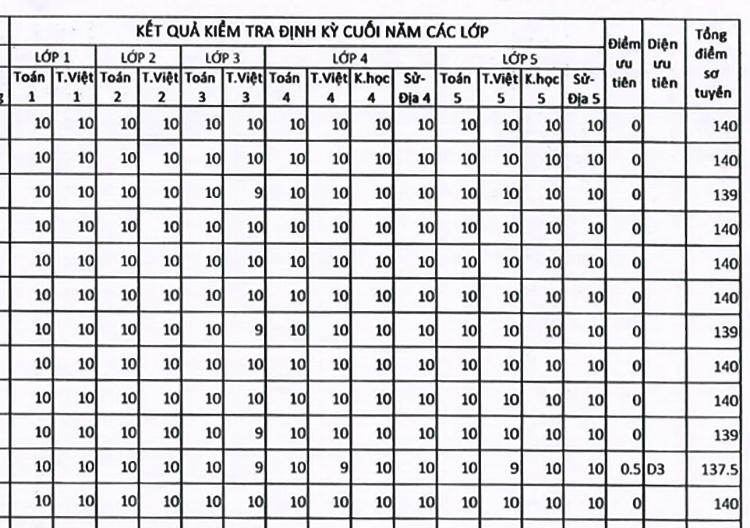 Bảng điểm toàn 9, 10 của những học sinh vượt qua vòng sơ tuyển vào lớp 6 trường THPT chuyên Hà Nội - Amsterdam. Ảnh chụp màn hình.