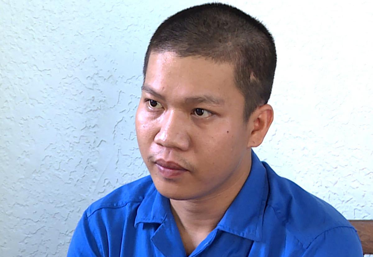 Cường tại công an huyện Xuyên Mộc. Ảnh: Quang Bình.