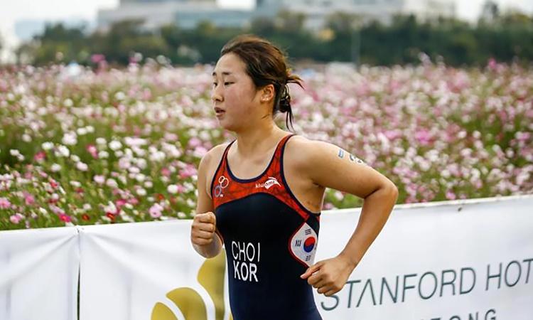Vận động viên ba môn phối hợp Hàn Quốc Choi Sook-hyun. Ảnh: International Triathlon Union.