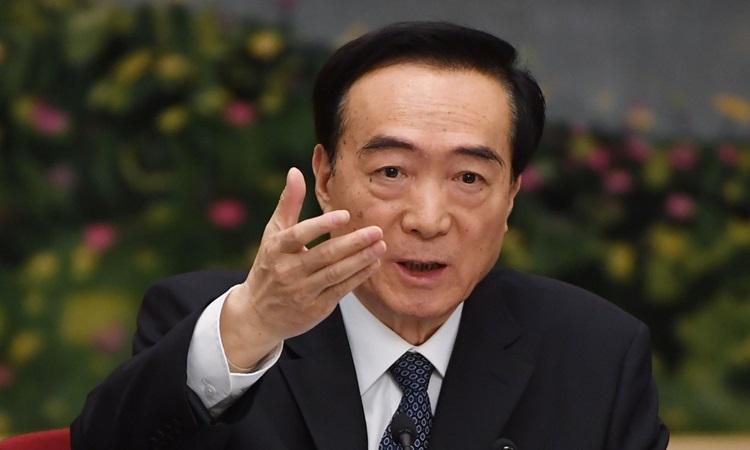 Bí thư đảng ủy Tân Cương Trần Toàn Quốc trong cuộc họp của phái đoàn Tân Cương tại Đại hội đại biểu nhân dân toàn quốc ở Bắc Kinh tháng 3/2019. Ảnh: AFP.