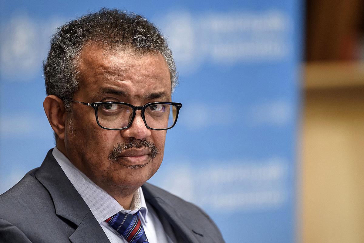 Tổng giám đốc WHO Tedros Adhanom Ghebreyesus trong cuộc họp báo ở Thụy Sĩ ngày 3/7. Ảnh: AFP.
