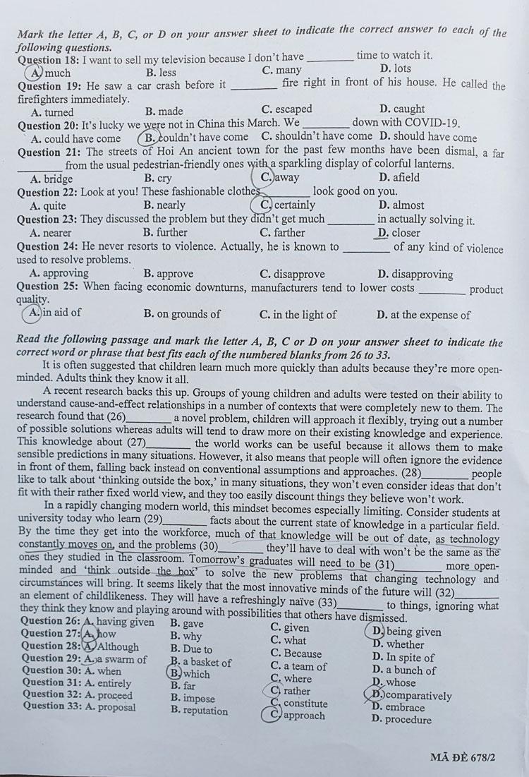 Đề Tiếng Anh vào trường chuyên Khoa học Xã hội và Nhân văn - 2