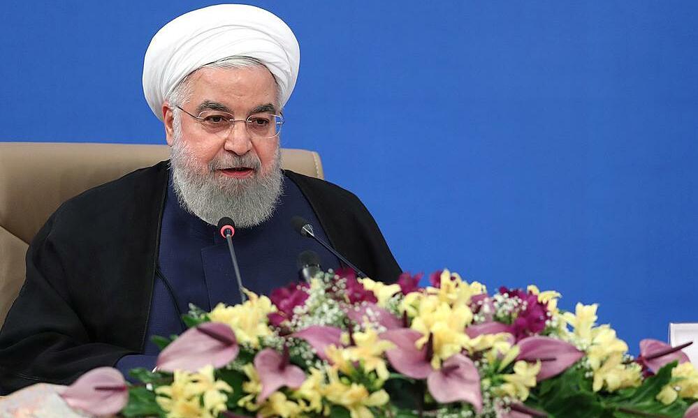 Tổng thống Iran Hassan Rouhani phát biểu tại hội nghị trực tuyến ở thủ đô Tehran, ngày 1/7. Ảnh: Reuters.