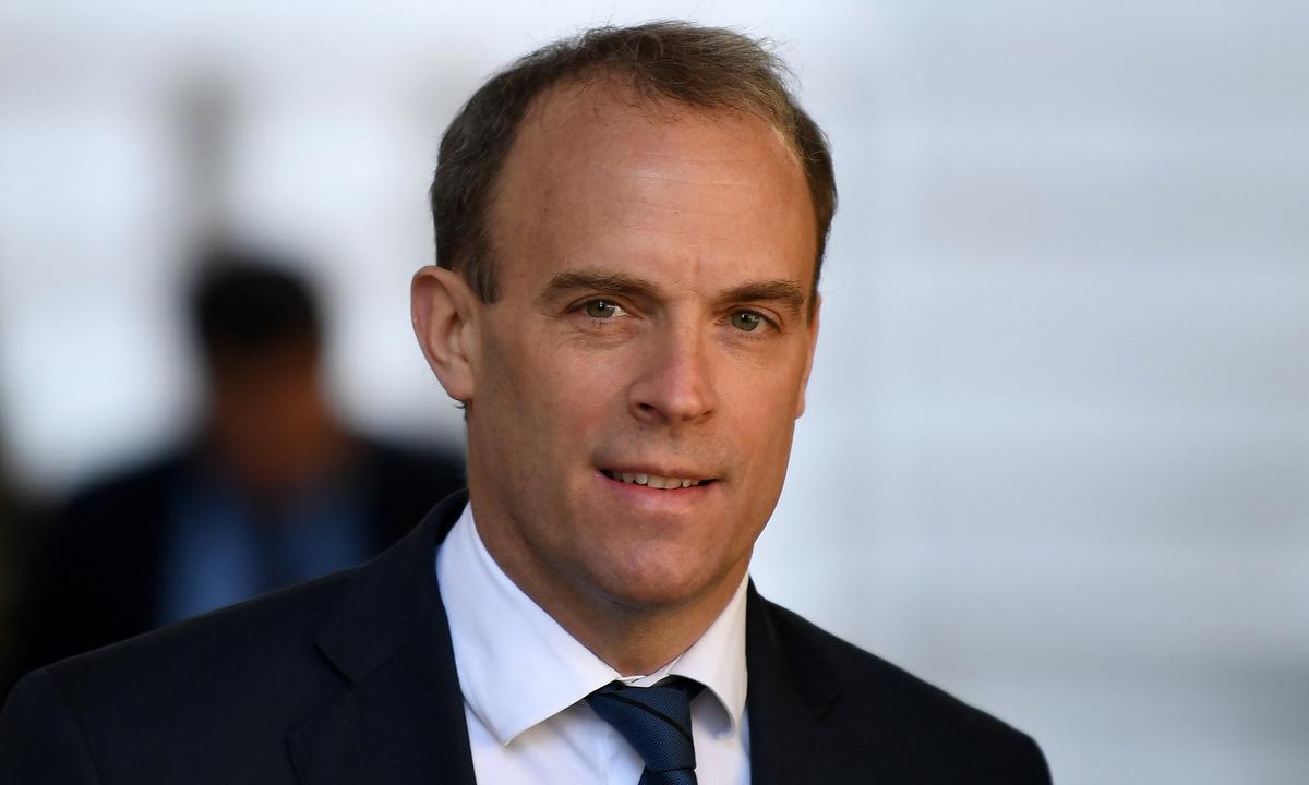 Ngoại trưởng Raab họp báo tại London hồi tháng 5. Ảnh: AFP.
