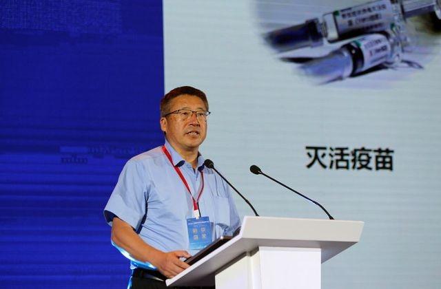 Ông Qiu Dongxu, đồng sáng lập CanSino Biotech phát biểu về các giai đoạn thử nghiệm lâm sàng vaccine Ad5-nCov tại Hội nghị về đổi mới thuốc chống virus của Trung Quốc, ngày 11/7 vừa qua. Ảnh: Reuters.