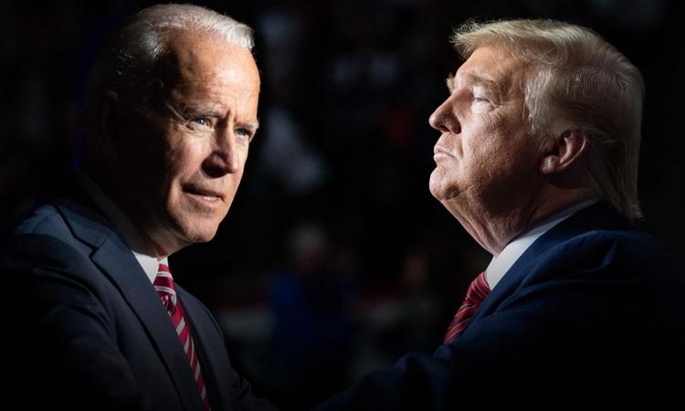 Tổng thống Mỹ Trump (phải) và ứng viên đảng Dân chủ Joe Biden. Ảnh: AFP.