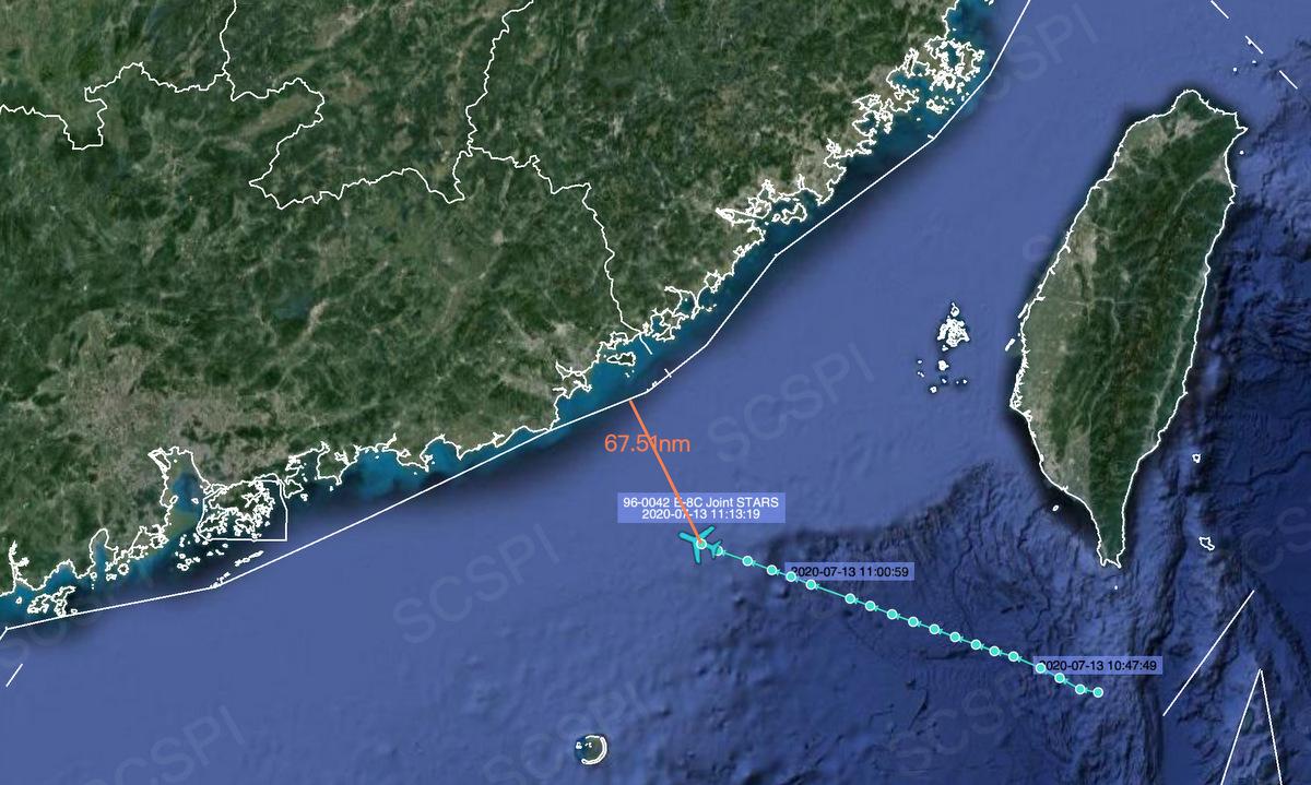 Đường bay của chiếc E-8C Mỹ hôm 13/7. Ảnh: SCSPI.