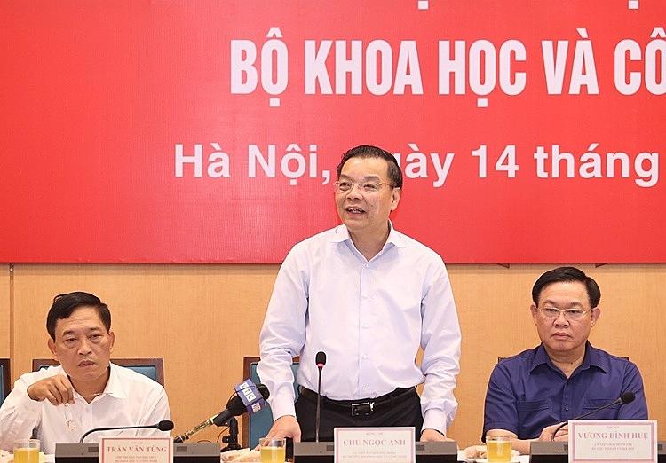 Bộ trưởng Chu Ngọc Anh phát biểu tại buổi làm việc. Ảnh: Ngũ Hiệp.