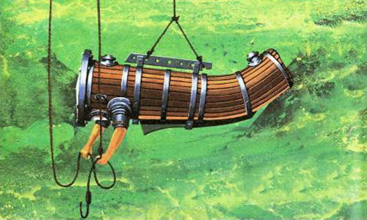 Minh họa bộ đồ lặn do John Lethbridge thiết kế năm 1715. Ảnh: Diving Suit.