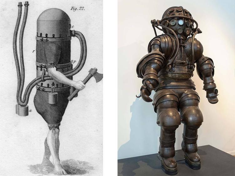 Bộ đồ lặn của Karl Heinrich Klingert năm 1797 (trái) và anh em Carmagnolle năm 1878 (phải). Ảnh: Rare Historical Photos.