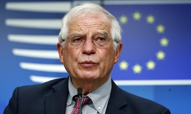Đại diện Cấp cao EU về Chính sách An ninh và Các vấn đề Đối ngoại Josep Borrell tại buổi họp báo sau cuộc họp của ngoại trưởng EU tại Brussel, Bỉ hôm 13/7. Ảnh: AFP.