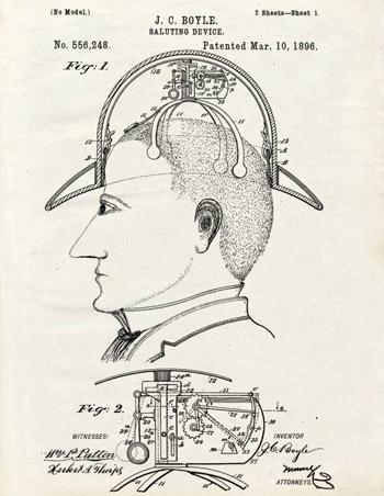 Thiết bị cơ khí được gắn lên trên mũ, tự động nâng mũ lên cao khi người đội cúi xuống để chào hỏi người đối diện. Đây là ý tưởng năm 1896.