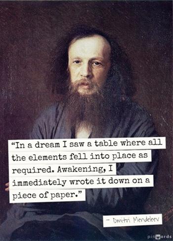 Dmitri Mendeleev mơ thấy bảng các nguyên tố hóa học. Ảnh: Pin Words