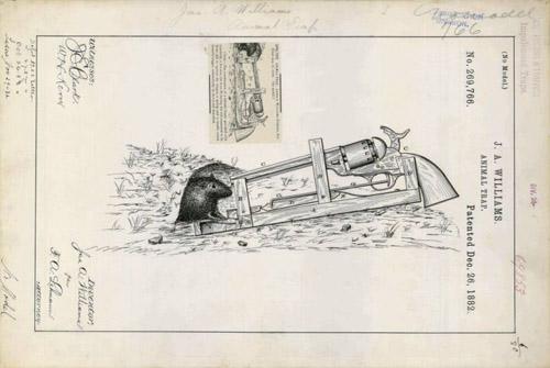Thiết kế súng lục ổ quay để bắt chuột của JA Williams năm 1882.