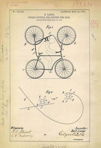 Mô phỏng sáng chế xe đạp đôi, được thiết kế để thực hiện các màn trình diễn mạo hiểm.