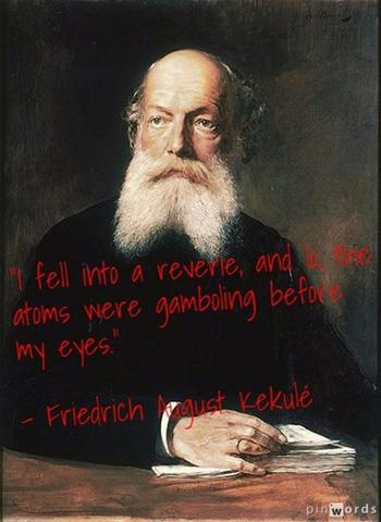 Friedrich August Kekulé phát hiện cấu tạo vòng benzen khi ngủ gật trên xe buýt. Ảnh: Pin Words