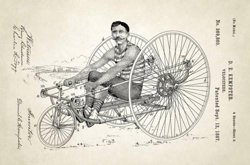 Xe ba bánh hoạt động nhờ chuyển động chèo của người lái. Đây là phát minh năm 1887 của D.E. Kempster.