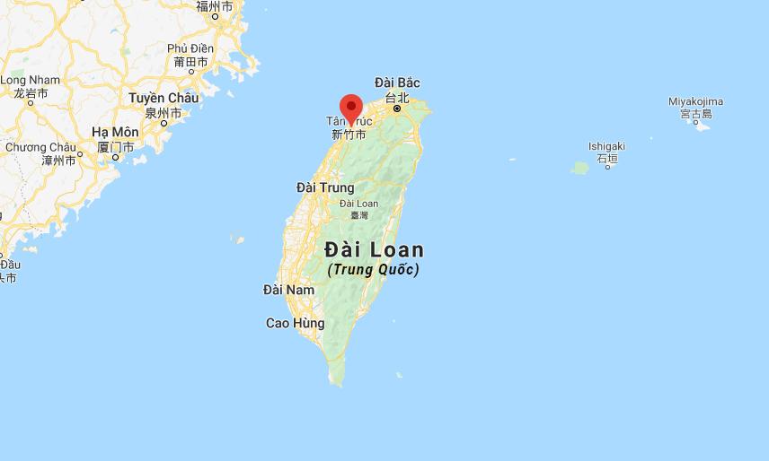 Vị trí thành phố Tân Trúc (đánh dấu đỏ) trên đảo Đài Loan. Đồ họa: Google.