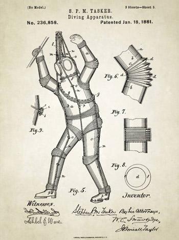Năm 1880, ý tưởng bộ đồ lặn bằng kim loại ra đời, với mục đích ngăn cản áp suất khi lặn dưới nước.
