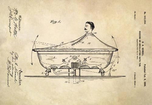 Trước khi có bồn tắm nóng, một người có tên O Hensel đã đưa ra ý tưởng thiết kế một chiếc bồn tắm có chức năng tự bắn nước về phía người sử dụng.