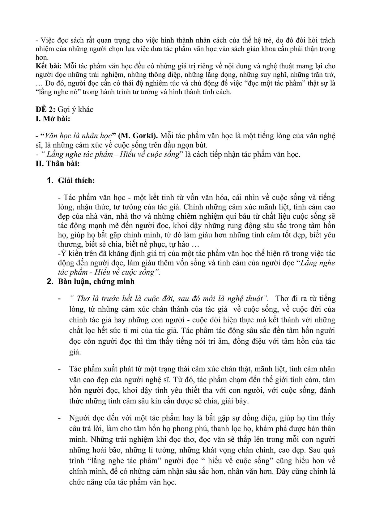 Gợi ý làm đề Văn lớp 10 TP HCM - 9