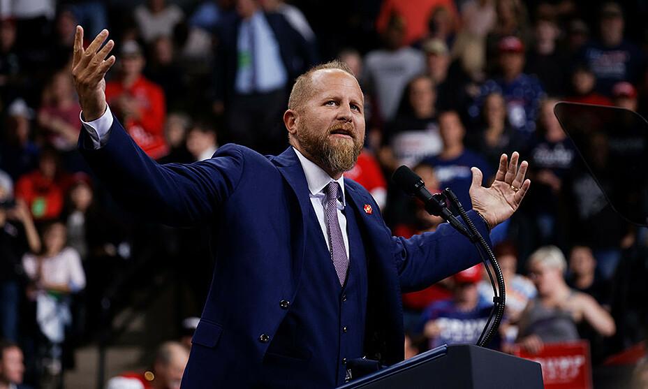 Brad Parscale phát biểu tại buổi vận động tranh cử của Tổng thống Trump tại Mineapolis, bang Minnesota, tháng 10/2019. Ảnh: Politico.