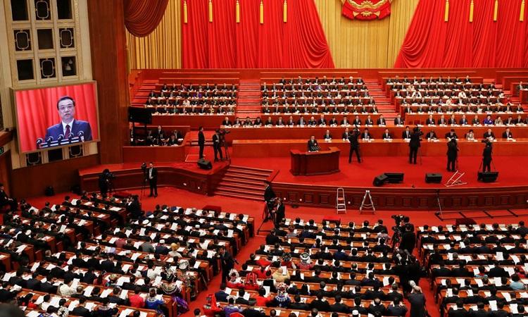Một phiên họp của quốc hội Trung Quốc tại Đại lễ đường Nhân dân ở Bắc Kinh tháng 3/2018. Ảnh: Reuters.