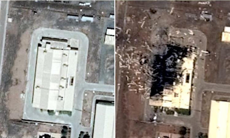 Ảnh vệ tinh xưởng lắp máy ly tâm tại cơ sở hạt nhân Natanz của Iran trước (bên trái) và sau vụ nổ hôm 2/7. Ảnh: CNET, Airbus.