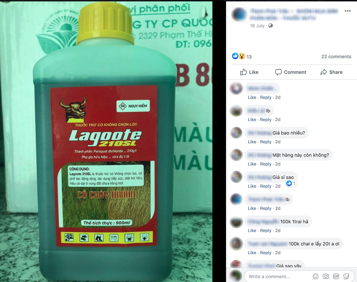 Lagoote 210SL có chứa hoạt chất cấm Paraquat vẫn được rao bán trên mạng.