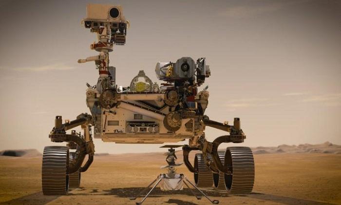 Robot tự hành Perseverance và trực thăng Ingenuity. Ảnh: NASA.