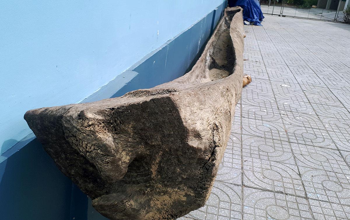 Chiếc thuyền độc mộc được đưa về Bảo tàng Hà Tĩnh. Ảnh: Đức Hùng